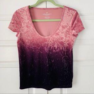 American Eagle pink/Purple Ombré Velvet Shirt SzS